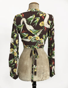Brown Swallow Print Vintage Style Drama Sleeve Babaloo Crop Top