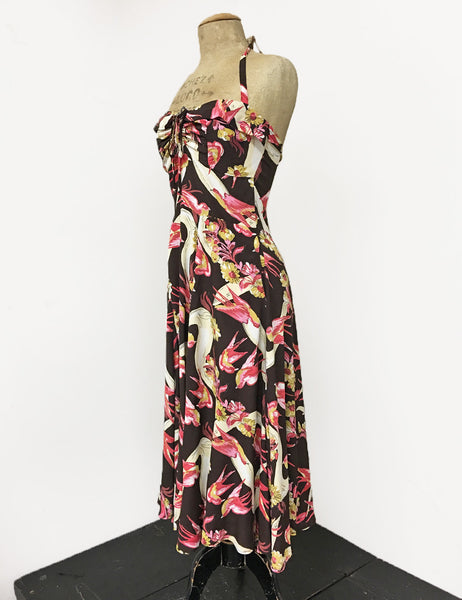 Brown Vintage Swallow Print 1940s Inspired Marta Halter Swing Dress
