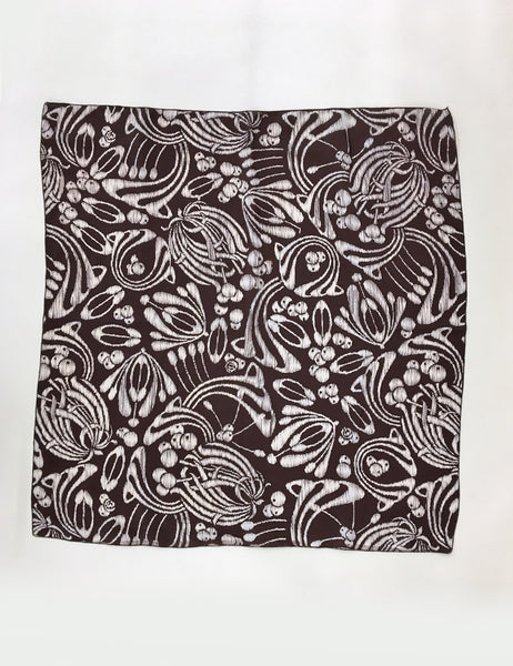Brown Tiki Print Square Hair & Neck Scarf