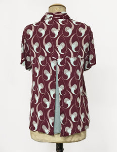 Raisin & Mint Deco Twister Button Up Short Sleeve Camp Shirt
