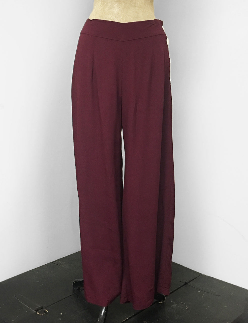 Solid Burgundy 1940s Style High Waisted Palazzo Pants