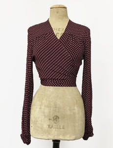Burgundy & Ivory Polka Dot Drama Sleeve Babaloo Tie Crop Top - FINAL SALE