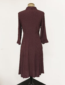 Burgundy Polka Dot & Velvet Three Quarter Sleeve Vintage Day Dress
