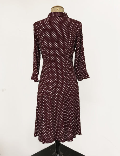 Burgundy Polka Dot & Velvet Button Three Quarter Sleeve Vintage Day Dress