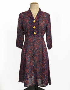 Burgundy Deco Floral Sheer Three Quarter Sleeve Vintage Day Dress