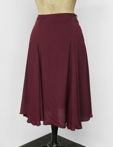 Burgundy Rayon Crepe Venice Beach Balboa Circle Swing Skirt