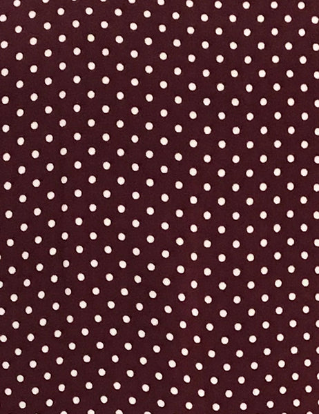 Burgundy Polka Dot 1930s Inspired V-Neck Kimono Top