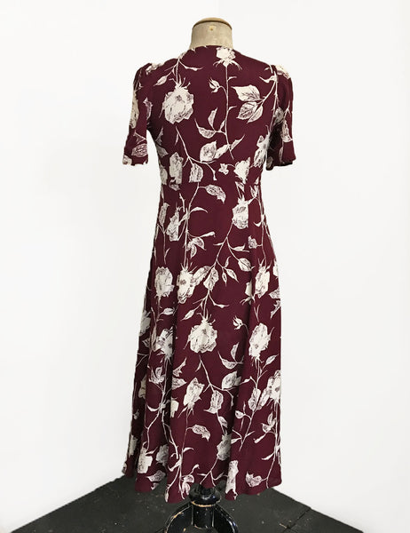 1930s Style Burgundy Pressed Floral Keyhole Pullover Norma Dress