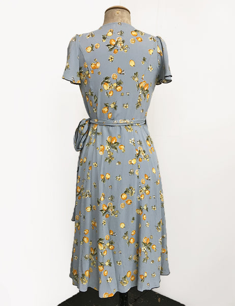 Celadon Blue Lemon Print Biasa Sweetheart Wrap Dress