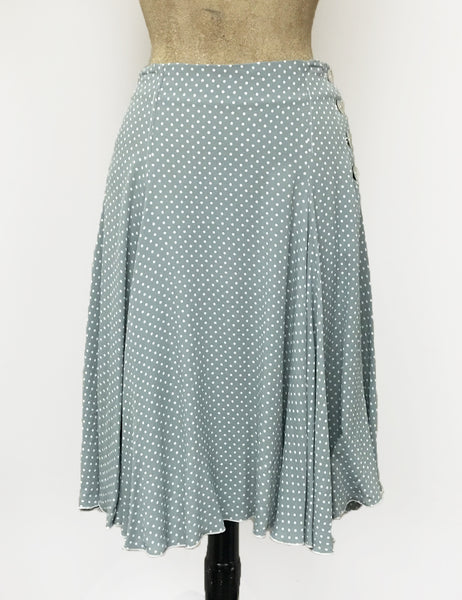 Celadon Polka Dot Venice Beach Balboa Circle Swing Skirt