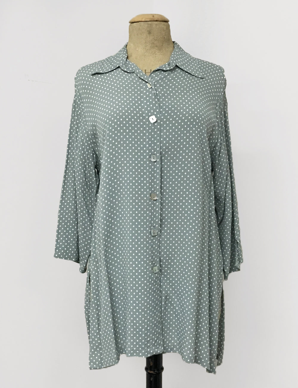 Celadon Green Polka Dot Button Up Frankie Flyaway Top