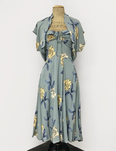 Celadon Tiki Tropical Floral Print 1940s Marta Halter Swing Dress