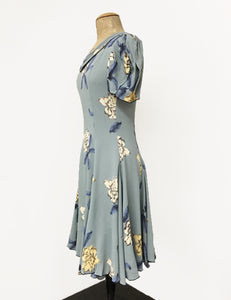 Celadon Blue Tropical Floral 1930s Venice Beach Balboa Swing Dress