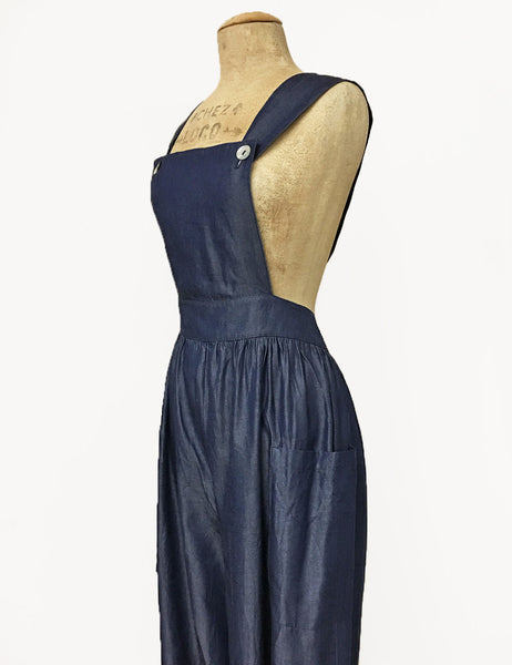 Chambray Denim Blue Retro Rosie 1940s Style Bib Overalls