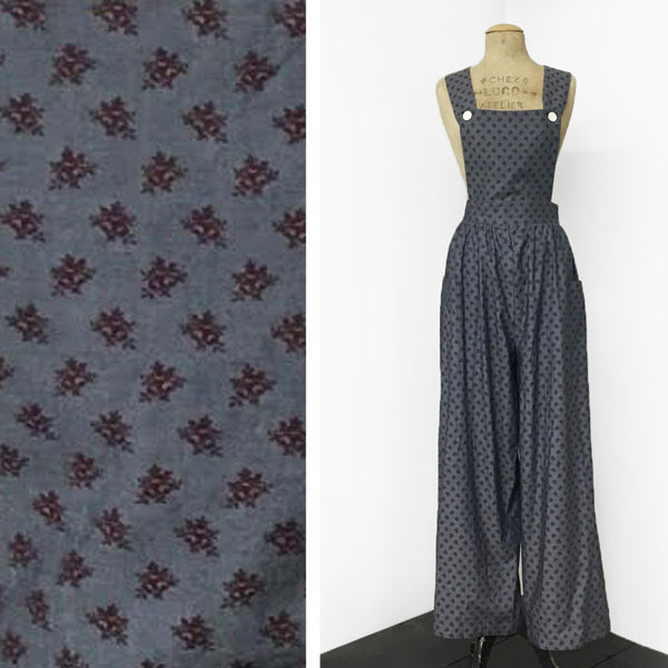 Fall Leaves Printed Chambray 1940s Style Rosie Bib Overalls - FINAL SALE
