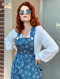 Floral Printed Chambray 1940s Style Rosie Bib Overalls