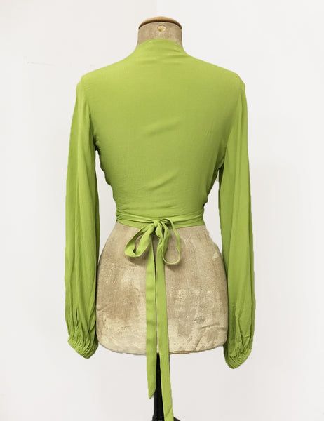 BACK IN STOCK! Bright Chartreuse Green Balloon Sleeve Babaloo Tie Crop Top