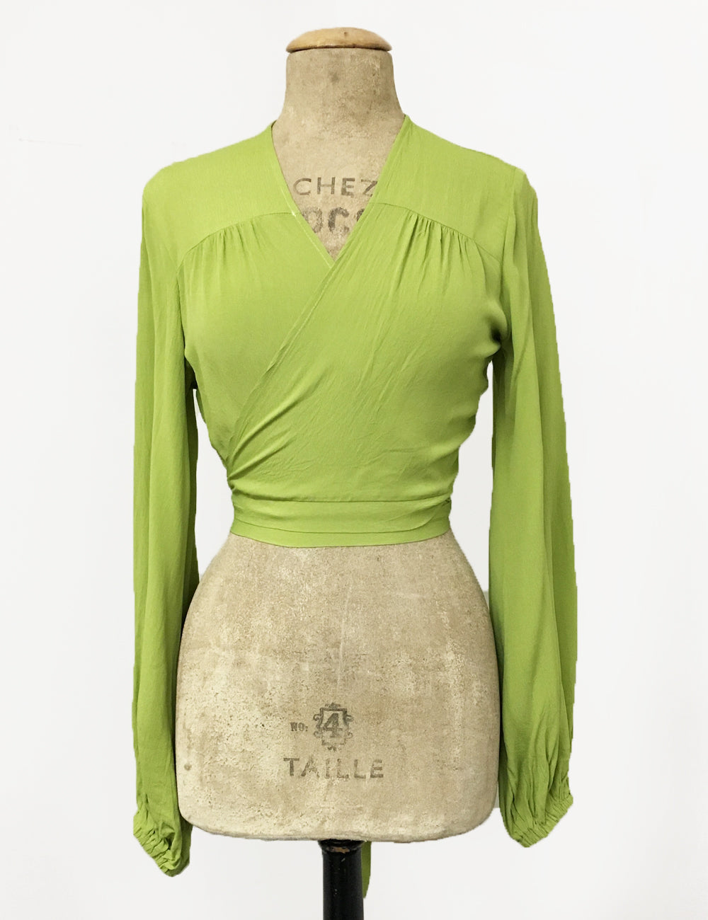 1950s Tops and Blouse Styles Bright Chartreuse Green Balloon Sleeve Babaloo Tie Crop Top $88.00 AT vintagedancer.com
