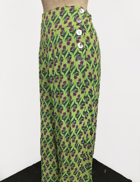 Chartreuse Green Nouveau Floral 1940s Style High Waisted Palazzo Pants