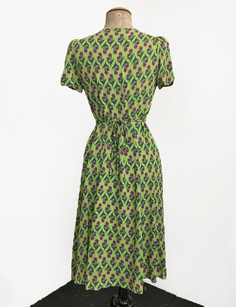 Chartreuse Green Nouveau Floral Knee Length Rita Dress