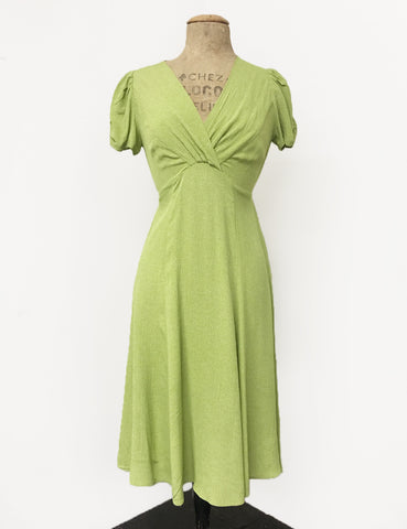 Chartreuse Pixie Dot Vintage Inspired Knee Length Rita Dress - FINAL SALE