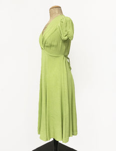 Chartreuse Green Pixie Dot Vintage Inspired Knee Length Rita Dress
