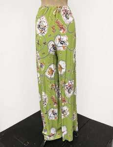 PREORDER - Chartreuse Green Vintage Western Print 1940s Style High Waisted Palazzo Pants