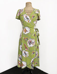 Chartreuse Green Vintage Western Biasa Sweetheart Wrap Dress