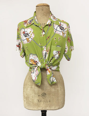 BACK IN STOCK! Chartreuse Green Vintage Western Print Button Up Short Sleeve Camp Shirt