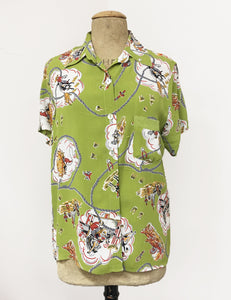 Chartreuse Green Vintage Western Print Button Up Short Sleeve Camp Shirt