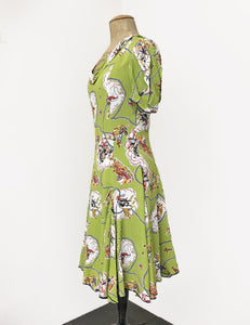 Chartreuse Green Vintage Western Print 1930s Venice Beach Balboa Swing Dress
