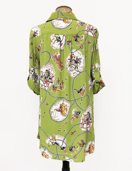 Chartreuse Green Vintage Western Print Hi-Low Blouse