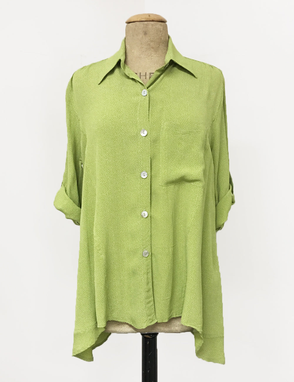 Chartreuse Green Pixie Dot Button Up Collared Hi-Low Blouse
