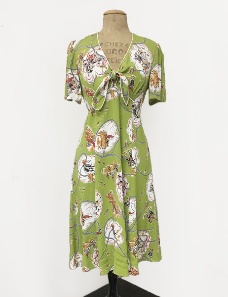 Chartreuse Green Vintage Western Print Mai Tai Knee Length Dress