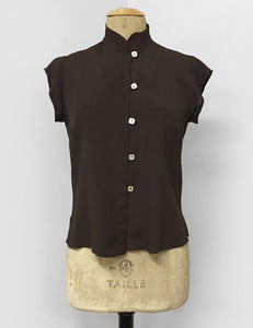 Chocolate Brown Button Up Mandarin Collar Tea Timer Top