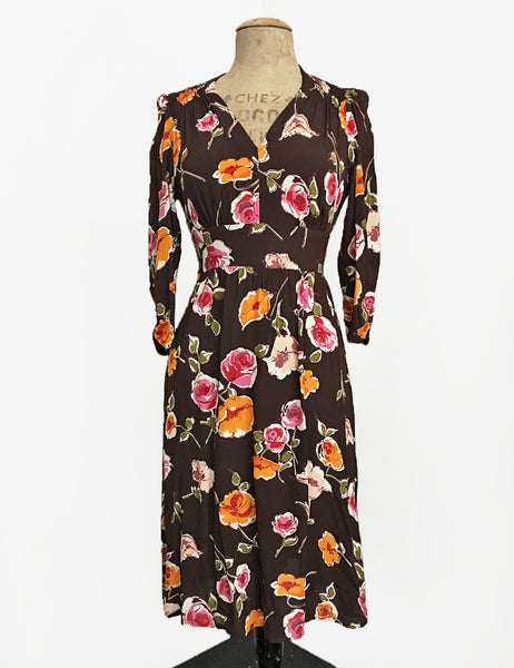Chocolate Brown Fall Floral 3/4 Sleeve Retro 40s Dress