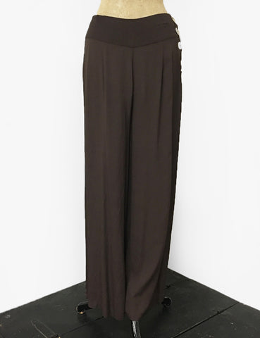 Solid Chocolate Brown 1940s Style High Waisted Palazzo Pants