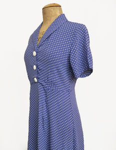 Cornflower Blue Polka Dot Short Sleeve Knee Length Vintage Day Dress