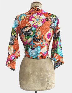 Colorful Boho Floral Cotton Angel Wing Crop Tie Top
