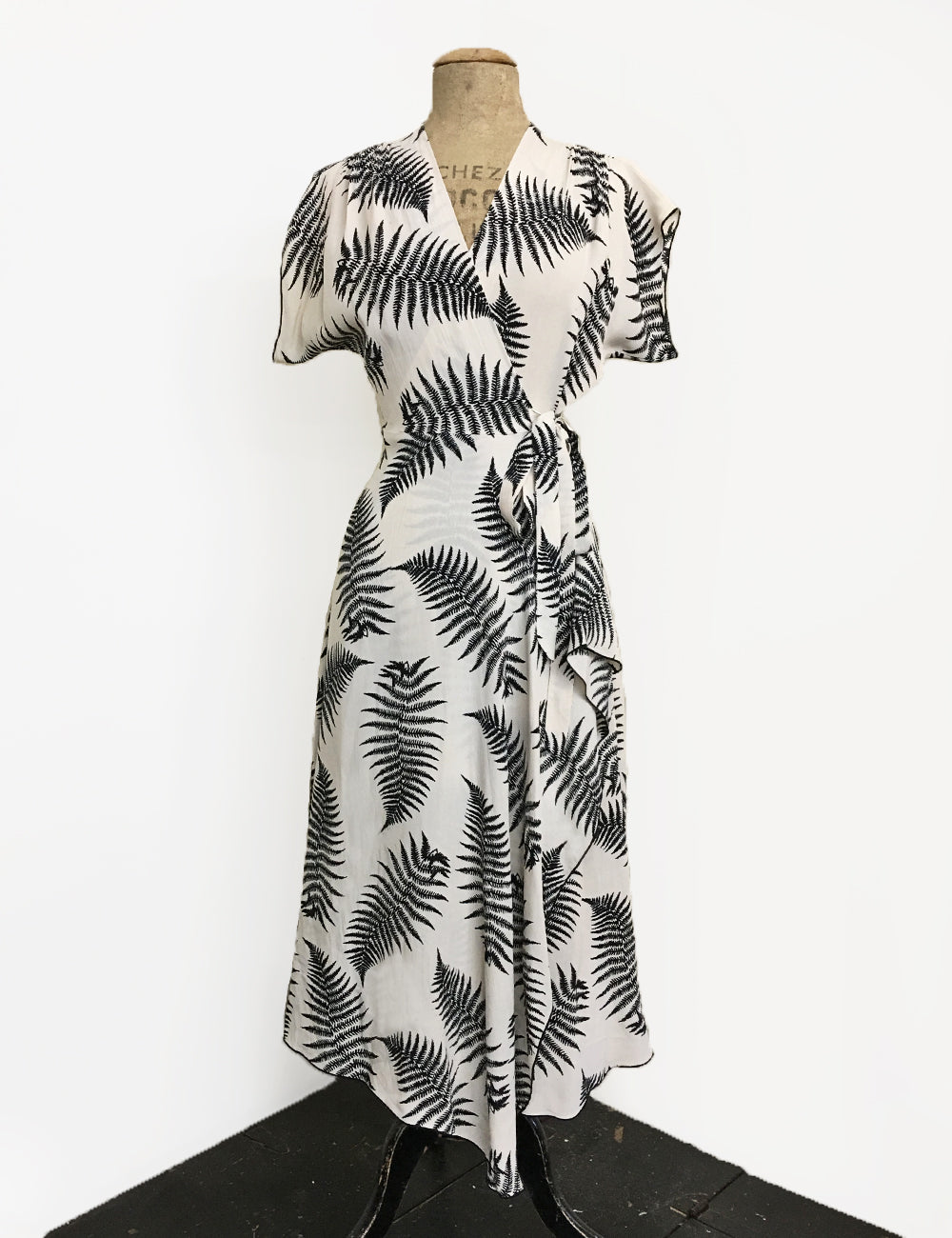 Ivory & Black Large Fern Print Cascade Wrap Dress