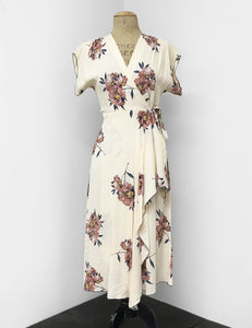 1940s Style Ivory Cream Dogwood Floral Tea Length Cascade Wrap Dress