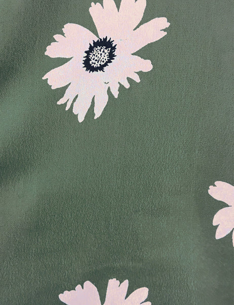 Army Green Daisy Print Short Sleeve Vintage Day Dress - FINAL SALE