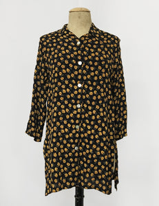 Golden Dandelion Floral Print Button Up Frankie Flyaway Top