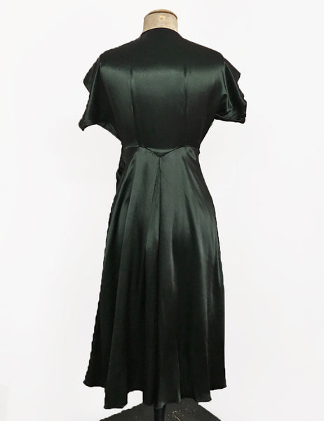 Dark Emerald Green Satin Cascade Wrap Dress
