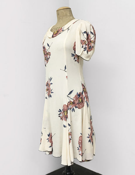 Demure Ivory Dogwood Floral Print 1930s Venice Beach Balboa Swing Dress