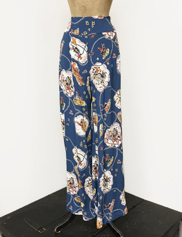 BACK IN STOCK!  Denim Blue Vintage Western Print 1940s Style High Waisted Palazzo Pants