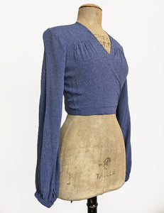 Denim Blue Pixie Dot Vintage Inspired Babaloo Wrap Top