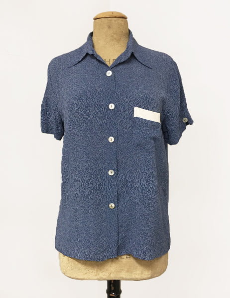 Denim Blue & White Pixie Polka Dot Button Up Short Sleeve Camp Shirt