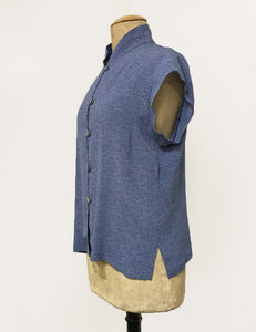 Denim Blue Pixie Dot 1930s Tea Timer Button Up Blouse
