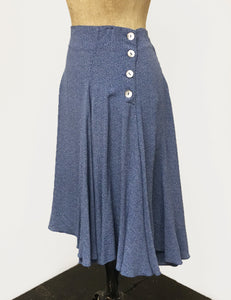 Denim Blue & White Polka Dot Venice Beach Balboa Circle Swing Skirt